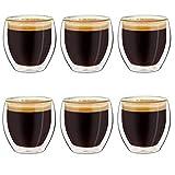 Creano doppelwandige Espresso-Gläser, 6er-Set 100ml, Mokkatassen, Thermo-Gläser mit Schwebe-Effekt