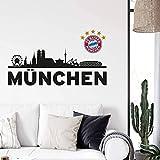 Wandtattoo, Aufkleber - FC Bayern Skyline schwarz - München mit Logo farbig 60x23 cm + Logo 13x14 cm - Art. Nr. FCB10181 - Wall-Art