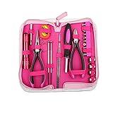 23-teiliges Werkzeugset und Lady Werkzeug Set,Rosa Werkzeugkoffer Ideal Weihnachtsgeschenk für Frauen Bastler Handwerker für Zuhause,Büro,Auto