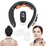 Nackenmassagegerät, Nackenmassagegerät mit Wärme Elektromagnetischer Tiefenphysiotherapie, 4 Modi und 15 Ebenen mit Fernbedienung zur Schmerzlinderung