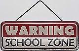 Blechschild mit Kordel 27 x 10 cm Wand/Tür Schild: Warning School Zone - Blechemma
