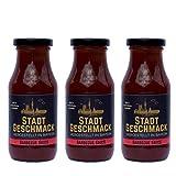 3er Set Barbecue Sauce ohne Geschmacksverstärker und Aromen - StadtGeschmack - vegan - BBQ - Grillsauce - rauchig - Sauce - 3 x 215ml