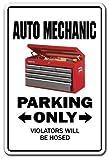 Funny Deko Schilder Auto Mechaniker KFZ Werkstatt Geschenk Garage Automarke Schild Metall Aluminium Zeichen für Garagen, Wohnzimmer