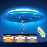 Led Deckenleuchte Dimmbar mit Bluetooth Lautsprecher, OPPEARL 36W 3600lm RGB Deckenlampe Dimmbar Farbwechsel mit Fernbedienung für Schlafzimmer Küche Kinderzimmer Wohnzimmer, Rund Φ30cm 3000-6500K