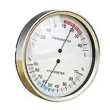 dailymall Thermo-Hygrometer, analog, aus Metall, für den Innen- und Außenbereich, ca. 132 mm