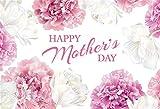 Leowefowa Happy Mother's Day Hintergrund für Fotografie, 1,5 x 0,9 m, Vinyl, elegant, weiß, rosa, Blumen, Gemälde, Hintergrund, Zweisamkeit Fotoshooting, Party, Banner, Tapete, Studio-R