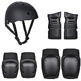 Bozaap 7-teiliges Skating-Schutzausrüstungsset, Schutzausrüstungsset einschließlich Helmkniepolstern Ellbogenschützer Handflächenauflagen Schutzausrüstung für Kinder und Erwachsene