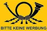 10x15 cm - Premium Aufkleber' Bitte keine Werbung' mit Post Horn Sticker Briefkasten Postkasten