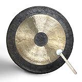 SEOCOM Klangschale Schule,Musikinstrument,Klangschale Groß,Gong,Tischgong,Tragbares Kupfer Gong Mit Trommelstöcke