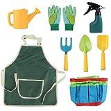Kinder-Gartengeräte, Gartenwerkzeug-Set mit Schaufel, Rechen, Gießkanne, Sprühflasche, Gartenhandschuhe, Gartenschürze, Leinen-Tragetasche fü
