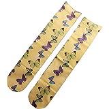 YO-HAPPY Frauen Sommer dünne Kniehohe Lange Socken Bunte Schmetterling Harajuku Strümpfe