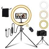 Ringlicht mit Stativ 10″ /25.4cm Ring-Blitzgeräte 3 Modus 10 Helligkeit Ringleuchte für YouTube, Selfie, Makeup, Tik Tok, Fotografie Live-Streaming, Video-Chat, Vlog