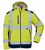 Vizwell Herren Winter Warnschutz-Jacke Softshell VW177P, Zertifiziert nach ISO-EN471, wasserabweisend, Winddicht, fluoreszierend-Gelb, Größe L