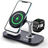 Auckly 3 in 1 Qi 15W Magnetisch Wireless Charger,Kabelloses Ladegerät kompatibel mit MagSafe Handyhalterung,Nur für iPhone 12/Pro/Max/Mini,Multi Fast Induktive Ladestation für Apple Watch,Airpods Pro