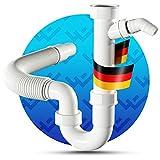 LOBENSWERK® Siphon für Küchenspüle mit flexiblem Ablaufschlauch - 100% Wasserdicht - Röhrensiphon mit einem Geräteanschluss + Anschlussdichtungen