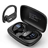 Bluetooth Kopfhörer Occiam 48H kabellose kopfhörer in Ear-kopfhörer Wasserdicht mit Mikrofon-LED-Display für Sportschwarz