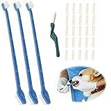 Hundezahnbürsten,Zahnbürsten für Hunde,Haustier Zahnbürste Doppelkopf Soft Zahnbürste,Hundezahnbürste Zahnpflege für Hunde, entfernt Beläge und Zahnstein