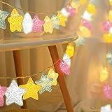 Stern-Lichterkette, bunte Sterne, für Weihnachten, Geburtstag, Urlaub, Party, drinnen und drauß