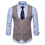 GELTDN Herren Business Casual Weste Herrenbekleidung Herren Casual Plaid Double Breasted Weste (Color : A, Size : 4XL Code)