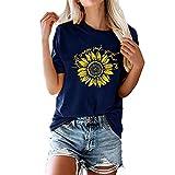 Buby Sommer Frauen Elegantes T-Shirt Atmungsaktive Poloshirts Sonnenblume Grafikdruck Bluse T-Shirts Damen T-Shirt Kurzarm Rundhals Langes Hemd Tunika Top Blusen Shirts Tops