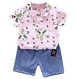 Baby Jungen Kleidung Set Blusen Freizeitshorts Bekleidungsset Kleinkind Kinder Cartoon Print Gentleman Shirt Tops Shorts Zweiteilig Outfits, Rosa, 18-24 Monate