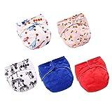 LSEEKA Baby Stoffwindeln, Einheitsgröße, verstellbar, waschbar, wiederverwendbar, für Baby Mädchen und Jungen, 5er-Pack mit 5 Einlagen (Farbe-E)