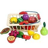 Barm Spielen Sie Food Toys Holz schneiden Lebensmittel-Set mit Einkaufskorb schneiden Obst und Gemüse Küche so tun als Spielen Sie Food Toys Frühes Lernspielzeug für Kleinkinder Jungen Mädchen