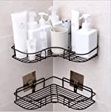 YUNKE Duschregal Eckregal, Duschorganisator-Lagerung, Duschwanne mit Kohlenstoffstahl-anhaftendem Aufkleber für die Küche u Badezimmer-Zusatz-anhaftender Aufkleber Eingeschlossen