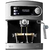 Cecotec Kaffeemaschine Power Espresso 20 .20 bar, wassertank 1,5L, Siebträger mit Doppelauslauf,für 1-2 Tassen,Milchaufschäumdüse, Tassenabstellfläche, 850 W,