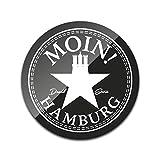 DStern Design - Moin! (S) - Der Hamburg-Untersetzer aus stabilem Echtglas für Hamburg | Glas-Untersetzer | Hamburger Geschenkidee | Hamburg-Geschenk | Rund: Ø10cm