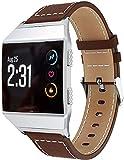 Simpleas kompatibel mit Fitbit Ionic Armband Leder Uhrenarmband Armbänder Lederarmband Ersatz (Ohne Uhren) - (Kaffee)