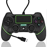 AQCTIM Controller für PS-4,Wired Gaming Gamepad Controller für PS-4/Pro/Slim/PC/USB Gamepad Joystick mit Dual Vibration und Anti-Rutsch-Griff(green)
