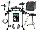 XDrum DD-400 E-Drum-Set Komplettset mit Verstärker, Kabel, Drumhocker, Schule und Sticks