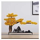 ZWMG künstlicher Bonsai Baum Neue Simulation Welcome Kiefer Ornamente Keramik Handwerk Wohnzimmer Porch TV Cabinet Home Weiche Dekoration Geschenke Indoor Draussen (Color : G)