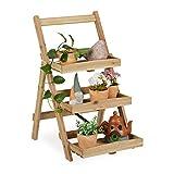 Relaxdays Blumenregal, 3 Ablagen für Pflanzen, Blumentreppe innen & außen, Holz, stehend, HBT: 80,5 x 50 x 61 cm, Natur, 1 Stück