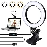 Opard Ringlicht Dimmbar Videokonferenz licht mit Clip, 6.1'/15.5cm LED Ringleuchte, Ringlicht Laptop mit USB für Fernarbeit, Fernunterricht und Selfie Portrait YouTube Live-Streaming Volg Schminken