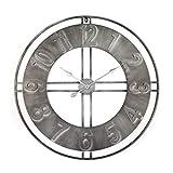 Große Vintage Wanduhr XXL Antike Industrie Metall Wanduhren ohne tickgeräusche lautlos Shabby-Stil Retro Ziffern Gross Ø80 cm Wall-Art (Industrial Silber 80 cm)