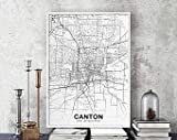 MG global Canton Ohio OH USA Map Poster Black White Hometown City Print Modern Home Decor Office Decoration Wall Art Dorm Bedroom Gift Unframed Wall Art