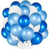 PuTwo Luftballons 12 Zoll 100 Stück Dekoration von festen Luftballons glonflables rund - Blau/Weiß