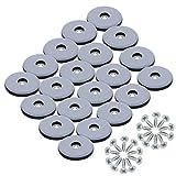 KAILEE 20 Stück Teflongleiter zum Schrauben Ø 25 mm Möbelgleiter Teflon Stuhlgleiter Teppichgleiter mit Schrauben Gleiter für Stühle Teppich Möb