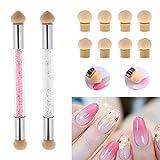 2 pcs Nail Art Schwamm Bürste, Sponge Brush Applikator, mit 8 Fingernägeldesign Schwamm, Nageldesign Anfänger Pinselset (Pink/Weiß)
