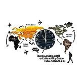 MAIKUI 3D Acryl Weltkarte mit Uhren Set - Wohnzimmer verzierte Moderne Wanduhr - Schwarz Weltzeituhren Wanduhren Schilder Kontinente Länder Wanddeko Wall-Art