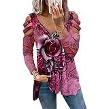 Damen-T-Shirt mit Rosendruck, lässig, sexy, langärmelig, Reißverschluss, V-Ausschnitt, Tunika, Blusen, lockere Passform, grafisches T-Shirt, rosarot, XXL