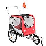 Wakects Faltbarer Kinderwagen für Katzen und Hunde, 360 Grad drehbar, Fahrradanhänger mit 4 Reflektoren für mittelgroße Haustiere bis 40 kg, 137,9 x 70,1 x 119,9