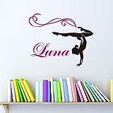 Personalisierte Name Dance Vinyl Wandtattoo Kunden Mädchen Turner Gymnastik Tanz Wandaufkleber Schlafzimmer Dekorative Dekoration Größe:56 * 47