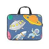 Facbalaign Universe Space Laptop-Tasche Astronaut und magische Planeten Computer-Handtasche Wasserdicht Hochwertige mit Griff White 17 Zoll