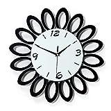 ZZL Uhr Wand Non-Ticking-Wanduhr Stummschaltung Kreatives Einfache Wohnzimmer Schlafzimmer Küche Studie Holz Wanduhr Runde Weißes Zifferblatt Dekor (Color : Black)