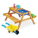 Relaxdays Kindersitzgruppe Holz, 2in1 Spieltisch & Matschküche, Picknicktisch für Garten, HxBxT: 49 x 90 x 85 cm, Natur