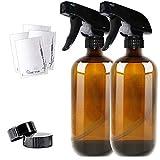 THETIS Homes Sprühflasche Glas 500ml, 2X Leere Braunglasflasche aus Braunglas für Pflanzen, Friseur, Ätherisches Öl mit 2-Stufen BPA-frei Sprühkopf - 2er-Pack
