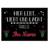 PR Print Royal Fußmatte mit Spruch - Lebt Liebt Lacht - Familie - Selbst Gestalten mit Wunschnamen - Viele weiße Herzen 90 x 60 cm